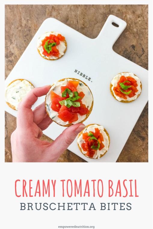 creamy tomato basil bruschetta bites Breton crackers