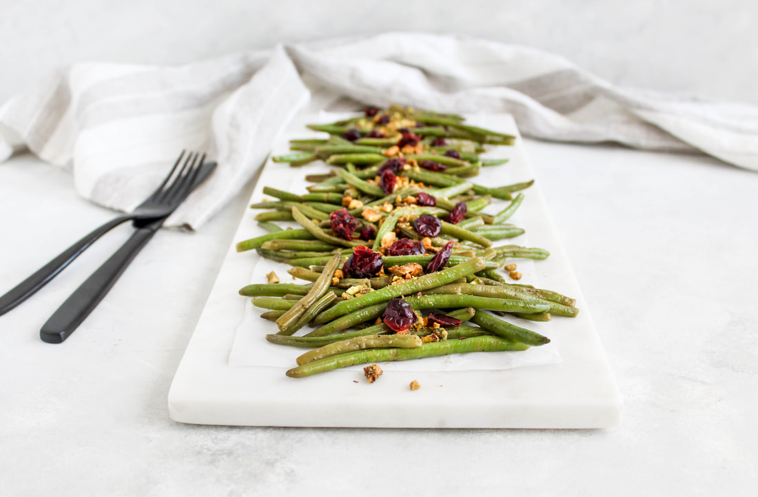 skillet green beans with cranberries and pistachios