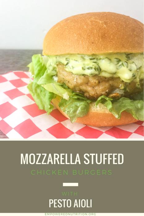 mozzarella stuffed chicken burgers pesto aioli